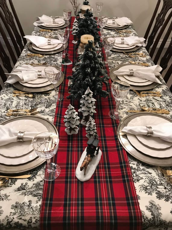 Tartan Plaid Table Runner | Tartan Table Runner, Stewart Plaid Runner, Tartan Tablecloth, Christmas Table Linens, Seasonal, Christmas Plaid