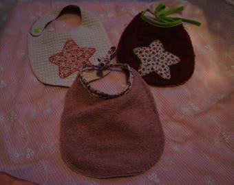 set of 3 bibs for baby girl