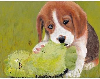 Beagle puppy A5 print, pet portrait.
