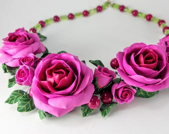 Rose Necklace. Flower necklace. Fuchsia Roses. Polymer Clay Necklace. Handmade Necklace. Statement Necklace. Gift For Her
