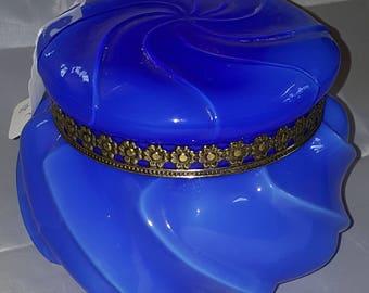 Vintage Fenton blue overlay wave crest box with lid