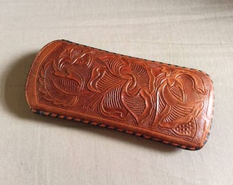 Vintage Hand Tooled Floral Design Leather Eye Glass Case