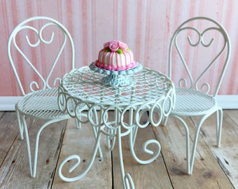 Dollhouse bistro set, strawberry shortcake table and chairs, fairy garden furniture