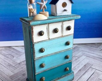 Dollhouse Beach Furniture, Miniature Dresser, Chest Of Drawers