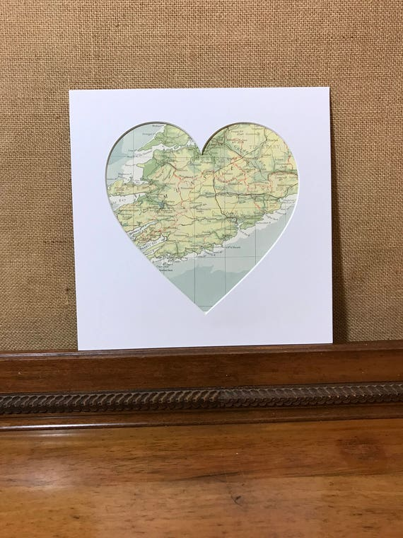 LOVE COUNTY CORK - Heart Mount Vintage Atlas / Mall Wall Art - Country Town City - Vintage Atlas Pages - Custom Made To Order - 9 x 9 inch