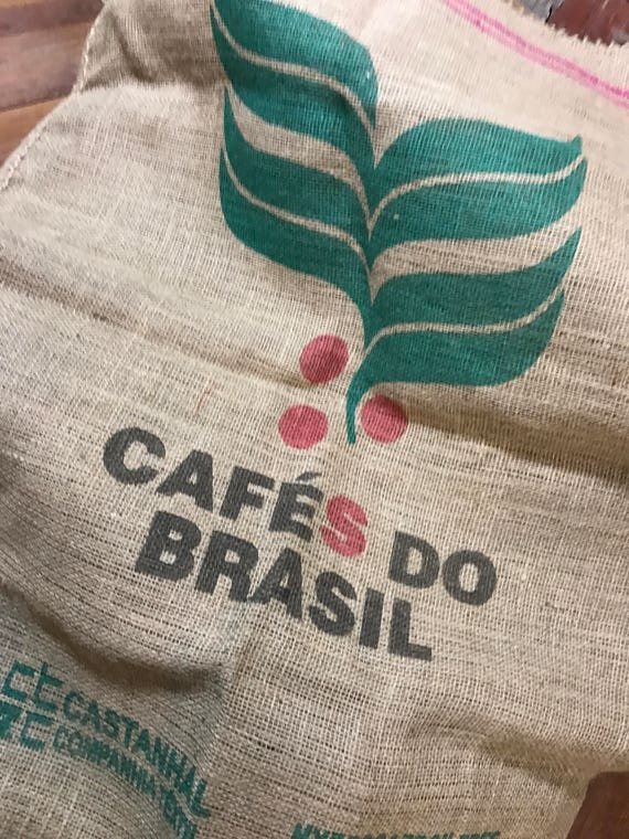 Burlap Coffee Bean Sack  Jute Sack Cloth   Upcycle Project Fabric   Cafes Do Brasil   Industrial Style Fabric Cloth For Upholstery