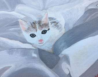 Kitten painting Kitten portrait Kitten illustration Kitten home décor Kitten wall art Kitten lover gift Kitten original art Kittens painting