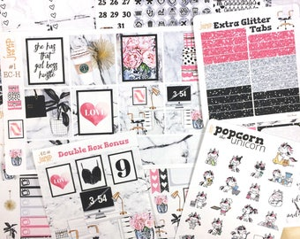 Girl Boss working office set / kit weekly stickers - Erin Condren Horizontal Planner - marble pink black glam