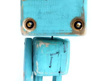 Robot reclaimed wood - the big head, sea green