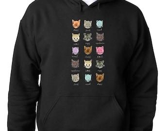 HOODIE Cool moody Cat  Cool Animal Hoodie Love of Cat Kitten Sweatshirt