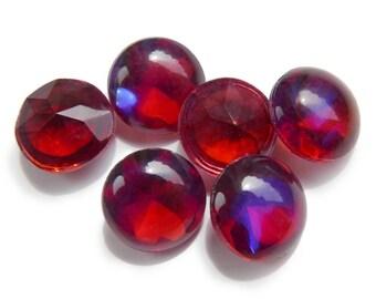 Vintage Mexican Opal, Dragon's Breath, glass, dark alexandrite - round - 40 ss - 2 pcs - E27