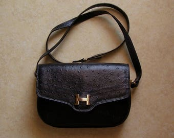 sacBesace/bag strap Sabatier/antiquityfrench/Leather Made in France/black leather bag
