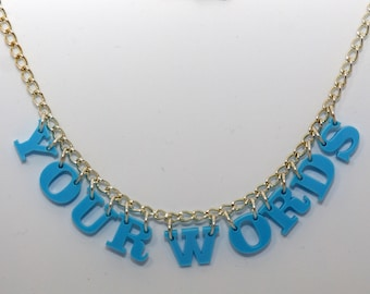 Personalised words laser cut acrylic necklace