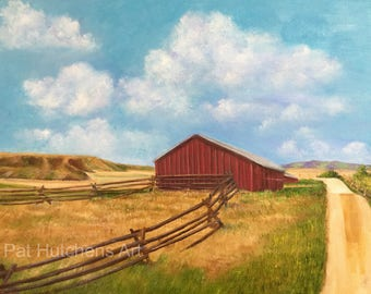 Red Barn on the Grant-Khors Ranch/ Big Sky/ landscapepainting/painting barns/ Montana/ Montana painting/Art and Collectibles/ oil painting/