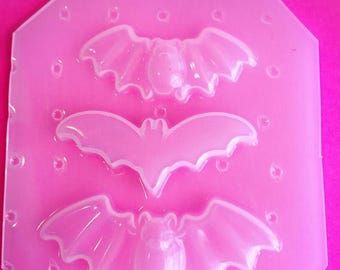 SUMMER SALE 3pc Mini Creepy Cute Kawaii Flying Bat Flexible Plastic Mold For Resin Crafts Jewelry Decoden