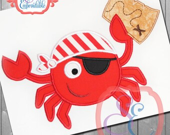 Pirate Crab Embroidered T-shirt, Embroidered T-shirt