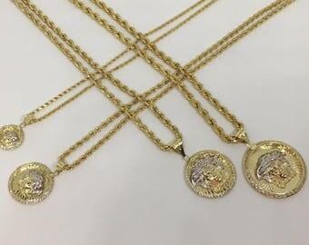 10K Solid Yellow Gold Two Tone Medusa Medallion Pendant Charm ~All Sizes Men Women