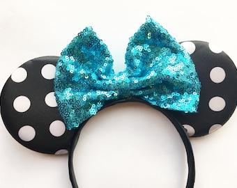Turquoise Polka Dot Ears