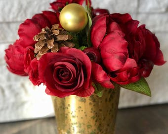 Holiday Reds Floral Arrangement Faux Flowers - Small