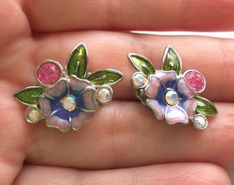 Vintage Circle Dot Avon Rhinestones Enamel Flower Earrings,Purple,Pink,Green,feminine,pretty,silver tone,Pre-owned