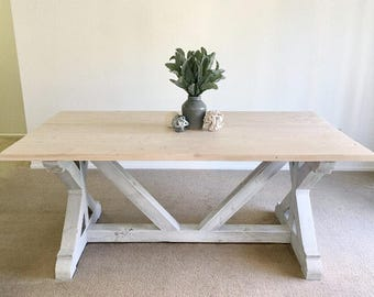 free shipping farmhouse trestle table diy kit made to order. Black Bedroom Furniture Sets. Home Design Ideas