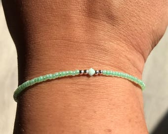 Green Swarovski/miyuki bracelet, green bracelet, Swarovski bracelet, miyuki bracelet, boho bracelet, stack bracelet, Wedding favor, brides