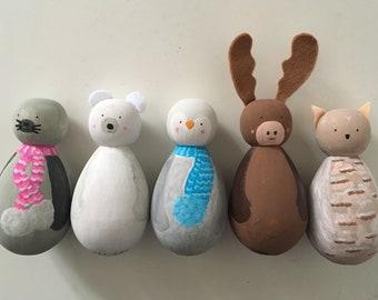 Little Finn and Friends wooden peg animals