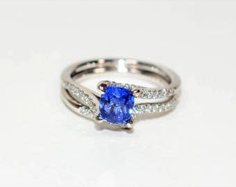 40% OFF SALE with free resizing!! GIA Certified Simon G 1.79tcw Blue Sapphire & Diamond Palladium Wedding Set