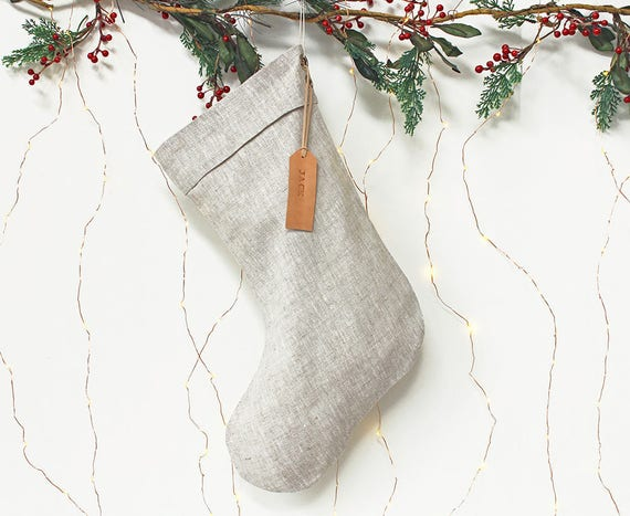 Personalised Linen Christmas Stocking with leather name tag