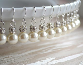 Pearl earrings Set of 2 Bridesmaid earrings Will You be my Bridesmaid gift set of 2 Bridesmaid jewelry Wedding jewelry with Swarovski