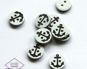 Button anchor black and white (10 x)