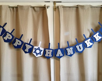 Happy Hanukkah Banner. Hanukkah Banner. Hanukkah Decor. Holiday Decoration. Jewish Banner. Jewish Holiday Sign. Star of David