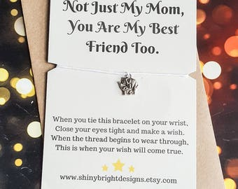 Mother's day gift, mom wish bracelet, mom birthday gift, gift for mom, wish bracelets, good luck charm, friendship bracelets, thank you mum