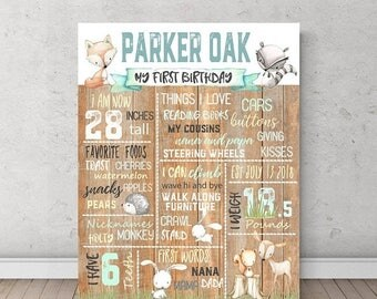 FLASH SALE Woodland First Birthday stat, Forest theme, Pastel Party, Birthday poster, Milestone, boy nursery, PartyTwo Boy birthday woodland
