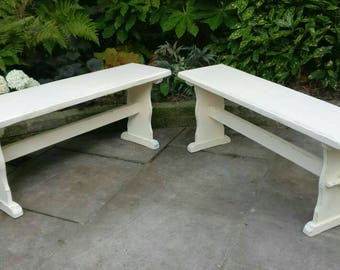 Wooden Benches With A Shabby Chic Style