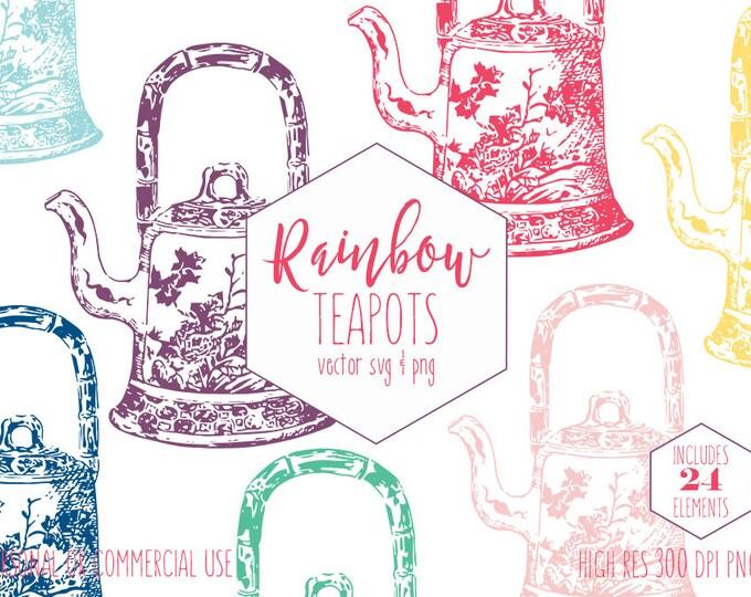 TEAPOT CLIPART for Commercial Use Planner Clip Art Vintage Tea Pot Images Rainbow Colors Cute Tea Party Vector Digital Graphics for Kids