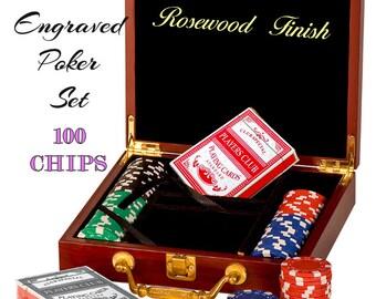 Poker Set, Custom Card Set, Personalized Poker Set, Custom Poker Set, Poker Chip Set, Poker Chips, Groomsman Gift, Rosewood, Free Engraving