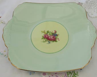 Vintage EB Foley, Green Bone China, Tabbed Sandwich Plate with Floral Spray, 1940's Bone China, Made in England