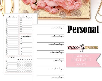 PRINTABLE INSERTS: Week on Two Pages (Lined)/Personal