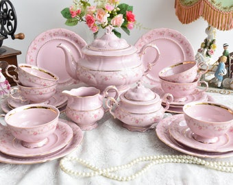 Vintage tea set porcelain tea set  vintage tea set for six tea cup set porcelain teacup set pink porcelain teaset coffee cup