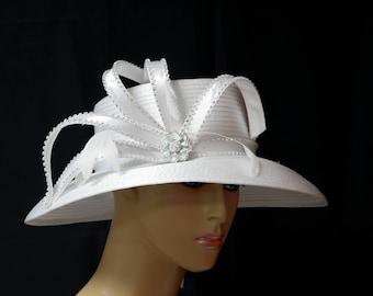 White Wedding Hat, Church Hat, Formal Hat, Dressy Hat,