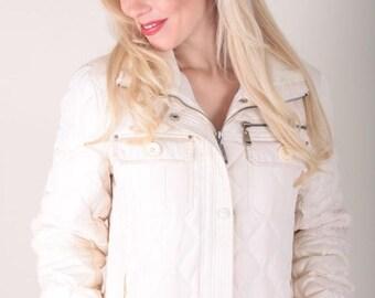 Vintage, Puffy Winter Coat, Ski Coat, Skiing, M60 Miss Sixty, White Coat, Powder Jacket, Puffy Coat, Small, Long Coat ~ Boom Thang ~  170213