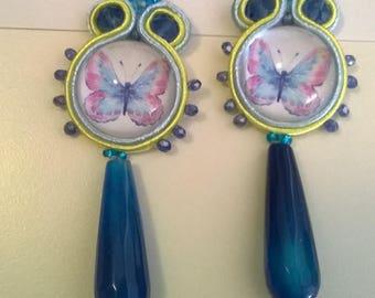 Soutache earrings with agate drop