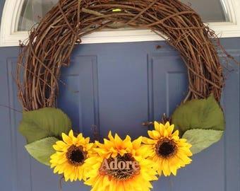 Adore Sunflower Vine Wreath