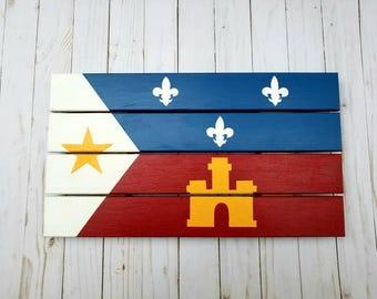 Acadiana Flag painting, Pallet, Lafayette Strong, Cajun, Louisiana Art, Louisiana painting, LA