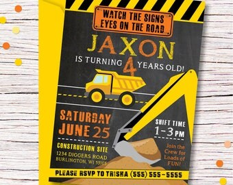 Printable Construction Invitation, Construction Birthday Invitation, Dump Truck Birthday Party, Road Construction Birthday, Boy Birthday