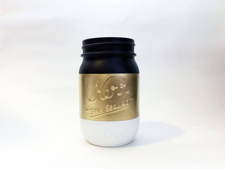 Gold White Black Theme Painted Mason Jars - Wedding Birthday Party ...