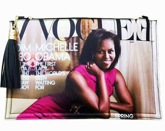 Purple Magazine Michelle Obama Tassel Clutch
