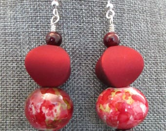 Large Red Stacked Earrings