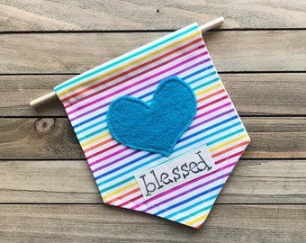 Rainbow Encouragement Heart Mini Banner - Ready To Ship!